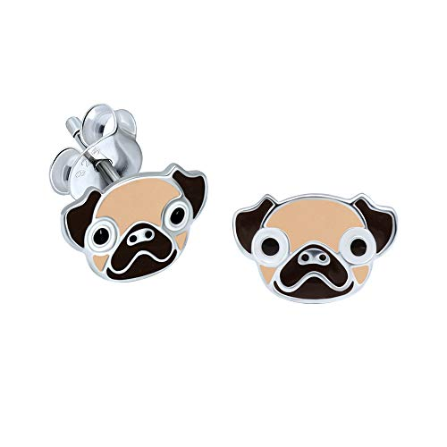 Pug Head Earrings - Sterling Silver Gift