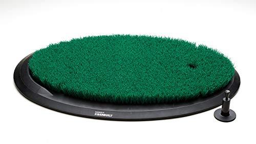 Fiberbuilt Flight Deck Golf Hitting Mat - Oval Shape Outdoor/ Indoor Real Grass-Like Performance Golf Mat with Durable Adjustable Height Tee, Black/Green, 21.25' x 13.5' x 1.75'