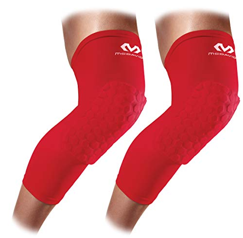 Knee Compression Sleeves: McDavid Hex Knee Pads Compression Leg Sleeve for Basketball, Volleyball, Weightlifting, and More - Pair of Sleeves, SCARLET, Adult: MEDIUM