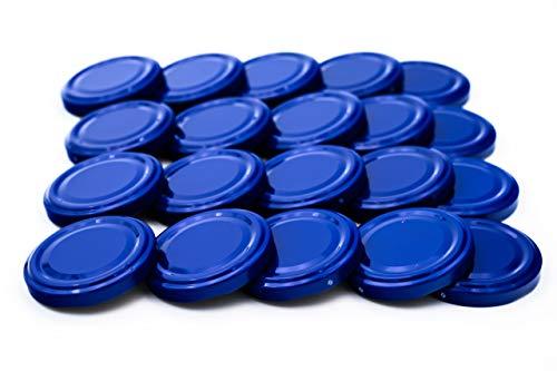 20 St. Ersatzdeckel Twist-off-Deckel 66 mm blau für Gläser zur Aufbewahrung und Bevorratung, Deckel für Einmachgläser, Marmeladengläser, Honiggläser, Feinkostgläser, Gewürzgläser TO 66
