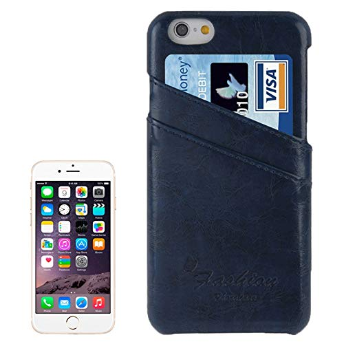 H-HX Case Leather Deluxe Retro PU Leather Case met kaartsleuven met Mode Logo for iPhone 6 Plus & 6S Plus (donkerblauw), Dark Blue