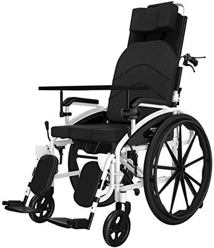 IWQTO Selbstfahr Rollstuhl, multifunktionale Pflegerollstuhl, faltbar tragbarer Rollstuhl, Doppel-Brems tragbare WHE