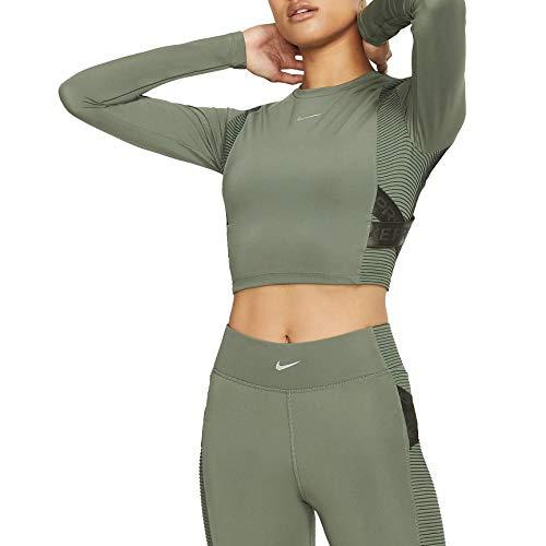 Nike W NP Capsule LS Top Aero-Adapt, Felpa Donna, Verde/Argento (Juniper Fog/Metallic Silver), XL