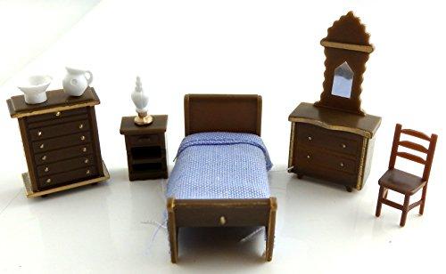 Dollhouse Minaiture 1:48 Scale Plastic Bedroom Furniture Set Suite