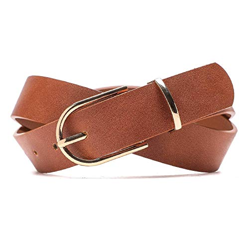 Earnda Women's Faux Leather Chic Belt for Ladies Jeans Brown Medium