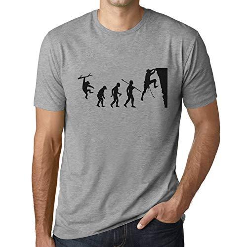 Ultrabasic - Camiseta para Hombre Evolución de la Escalada Gris Moteado