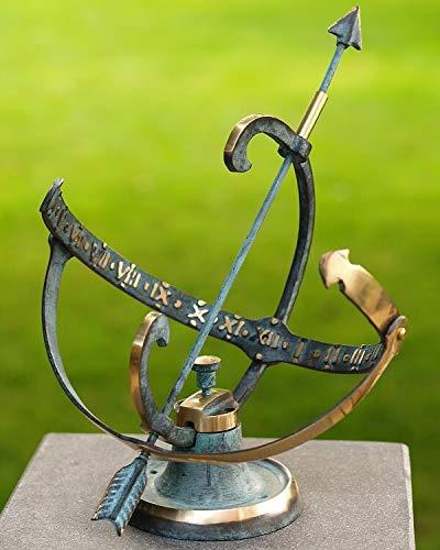 IDYL Outdoor Zeitmesser aus Bronze Sonnenuhr | hochwertig und auffällig | Nr. 0001 | Maße 30 x 25 x 25 cm