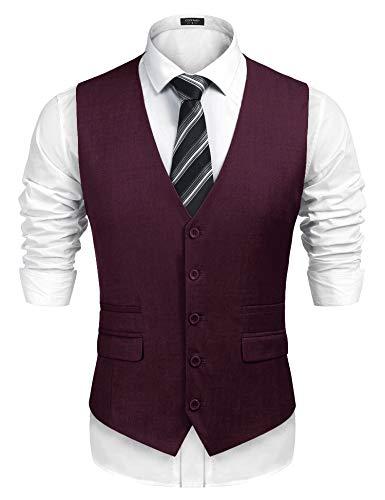 COOFANDY Men's Business Suit Vest,Slim Fit Skinny Wedding Waistcoat (XX-Large, Wine Red)