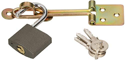 KOTARBAU® Drahtüberfalle Mit Vorhängeschloss Knoten Verzinkt Türbeschlag Vorhängeschloss Überwurf Absicherung Türschloss Sicherheitsüberfalle Uni. (80 mm)