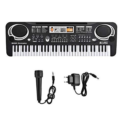 Zerone Mini pianoforte elettrico con 61 tasti per bambini, strumento musicale con microfono, 100-240...