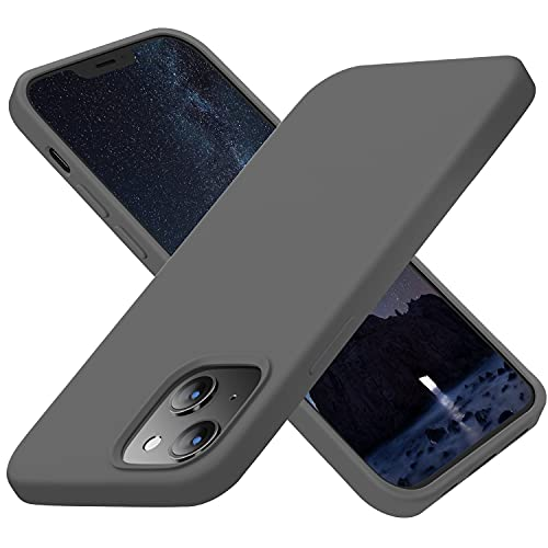 Cordking Designed for iPhone 13 Case, Silicone Ultra Slim Shockproof Protective Phone Case with [Soft Anti-Scratch Microfiber Lining], 6.1 inch, Space Gray