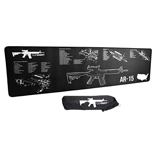 """GUNMATT Gun Cleaning Mat for ar-15 Rifle, Shotgun and Handgun 3mm Thick and Sized 12""""x 36"""" Non Slip Backed Waterproof and Oil Resistant with Stitched Edges"""