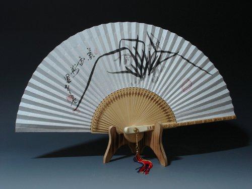 Peint à la main Noir Encre de Chine Pliable Peinture Corée ORCHIDEE riz en Papier de mûrier blanc Motif Éventail décoratif en main