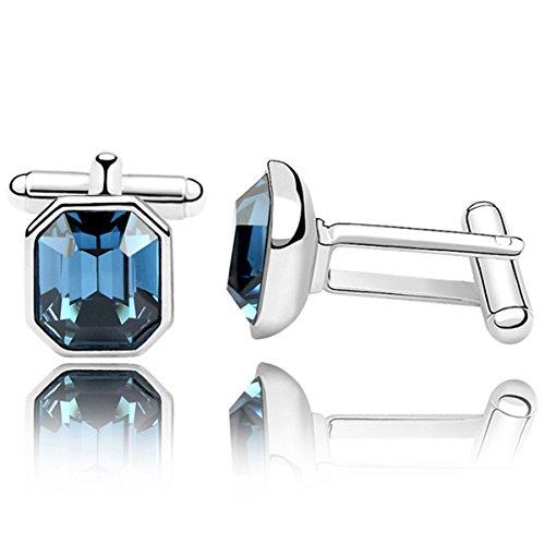 URBAN SHe° Boutons de manchette en forme de coeur en forme de rhodium bleu marine
