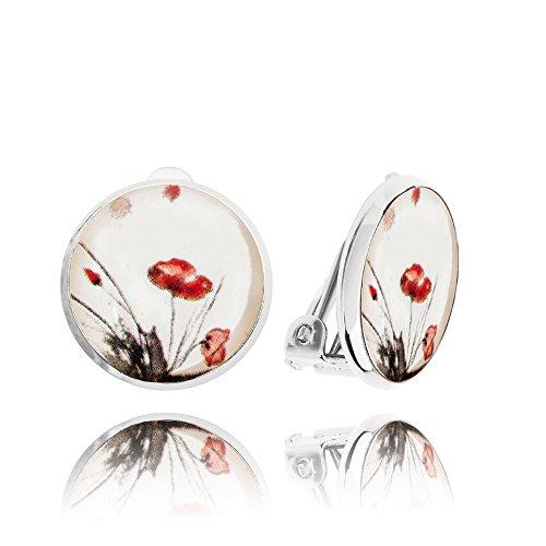 Orecchini a Clip Carini Rosso Papavero e Bianco per Ragazze in Una Confezione Regalo