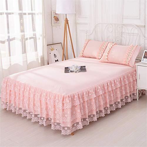 CQZM Europäischen Spitze Bed Skirt Queen Einfarbig Mit Rüschen Bettvolant Babybett Elastische rutschfest Bettrock Tagesdecke Weiß Für Schlafzimmer Wohnheim EtcE-150x200cm(59x79inch)