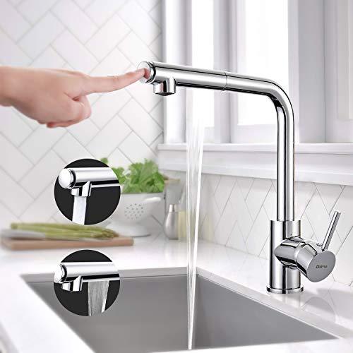 Küchenarmatur, Dalmo DBKF02KY hochwertige ausziehbare Spültischarmatur, drehbarer 360°-Wasserhahn für die Küche, mit 2 verschiedenen Strahlarten, verchromtes Messing, kaltes und heißes Wasser
