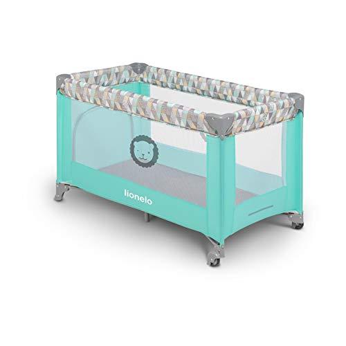 Lionelo Adriaa Baby Bett Laufstall Baby Reisebett Baby ab Geburt bis 15kg Seiteneingang Lockguard System und Blockade der Räder Moskitonetz Tragetasche zusammenklappbar (Türkis) - 3
