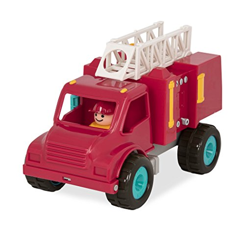 Battat – Feuerwehrauto mit 2 Figuren – mit Funktionen und beweglichen Teilen Spielzeug Fahrzeug für Kinder ab 18 Monaten