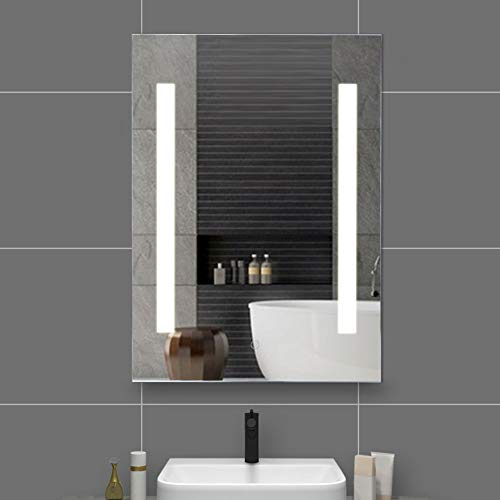 Espejo Baño con Luz LED Antivaho, Espejo de Pared Rectangular con Lámpara LED Brillante para Baño Dormitorio(50 x 70 cm)
