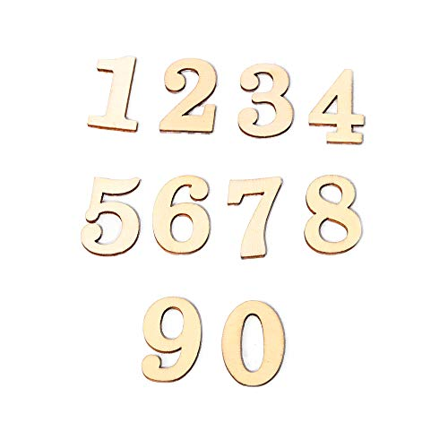 Queenser JM01483 Madeira ZAKKA Artesanato Proteção Ambiental Números DIY Decoração Auto-adesiva Acessórios Números De Madeira para artesanato DIY (Números de 0 a 9, 10 Por Pacote)