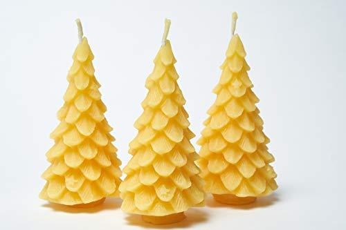 Imkerei Freese 3X Kerze Motiv Tannenbaum (Höhe ca. 11,5cm) aus 100% Bienenwachs vom Imker