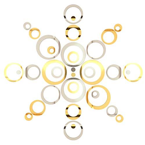 36Piezas Pegatinas Decorativas Pared Baño Espejos Adhesivos Acrílico Decoración Salón Hogar Oficina Tiendas Habitación Espejo de Acrílico Desmontable Pegatina de Pared Adornos Decoración (Oro y Plata)