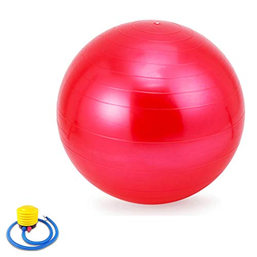 Pelota de Pilates, Pelota Suiza Anti-explosión Fitness, Pelota de Gimnasio 55CM 65CM 75CM 85CM 95CM, Pelota Suiza con Bomba para el Embarazo, Oficina, Silla de Equilibrio, Fitness,Rojo,95cm