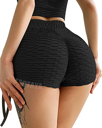 TSUTAYA Butt Lifting Yoga Shorts for Women High Waist Tummy Control Hot Pants Textured Ruched Sports Gym Running Beach Shorts Black L