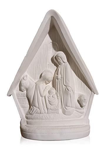 FUNNY CUP Figura Escayola Nacimiento de Navidad para Pintar. Decora un Portal de Belén Moderno para el hogar. Alto 23 cm.