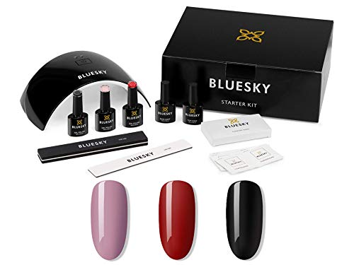 Bluesky Gel Nail Polish Starter Kit - Gel Nail Kit with 24W UV LED Lamp Nail Dryer, 3 x 10ml Gel Nail Polishes, Cleanser Wipes, Top and Base Coat, Nail File and Buffer [AMAZON EXCLUSIVE]