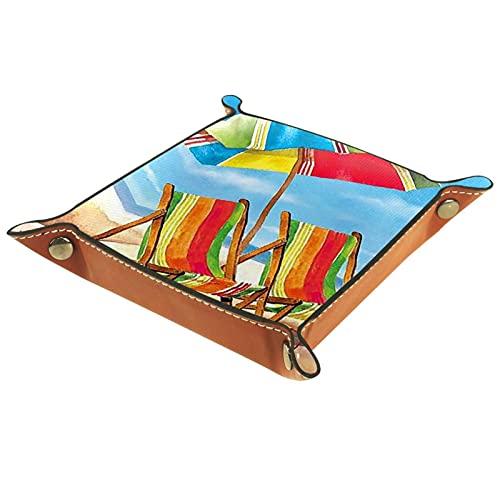 LXYDD Bandeja de Valet de Cuero Multiusos Caja de Almacenamiento Organizador de bandejas Se Utiliza para almacenar pequeños Accesorios,Arcoiris sombrilla Silla Playa Arena