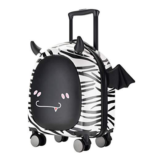 Kids Carry On Luggage, 3D cute Little Demon Design With Emoji sticker By Sindermroe (White)