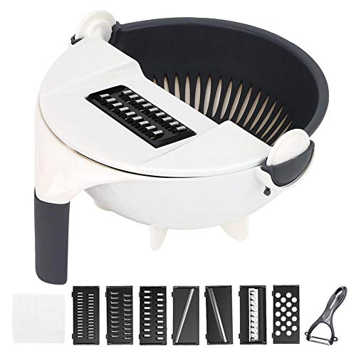 Vegetable Cutter, Multi Blade Adjustable Mandoline Cheese Vegetables Julienne with Drain Basket, Best Veggie Cheese Shredder Grater Set with Dicing Blades