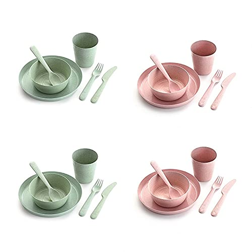 Zay Luay Set de cubiertos de paja de trigo, tazas, platos, tenedores y cucharas, platos anti-gotas y platos, vajillas de camping de plástico para niños, lavavajillas y seguridad de microondas, ecológi