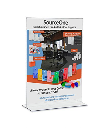 Source One 5 x 7 Premium Upright Clear Acrylic Sign Holders Table Tents Ad Frames (1 Pack)