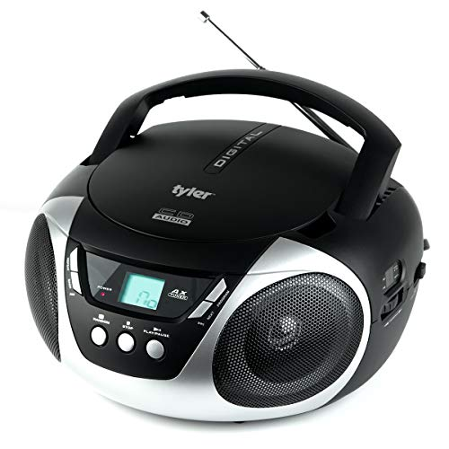 Tyler TAU101-SL Portable Sport Stereo CD Player - Single Disc, Speakers, AM FM Radio, Headphone Jack, Playback Function and Aux for iPod, Walkman, MP3 - Compact Size and Battery Power - Silver