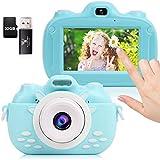 POWERKKM Kinderkamera,3,0-Zoll-LCD-Touchscreen Kinder Digitalkamera,Kleinkind Kamera mit 32G TF-Karte und 1080P 30MP HD-Video,Camcorder für Jungen Mädchen Alter 3-10(Blau)