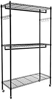 Homdox Double Rod Closet 3 Shelves Wire Shelving Clothing Rolling Rack Heavy Duty Garment Rack with Wheels and Side Hooks