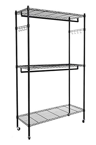 Homdox Double Rod Closet 3 Shelves Wire Shelving Clothing...