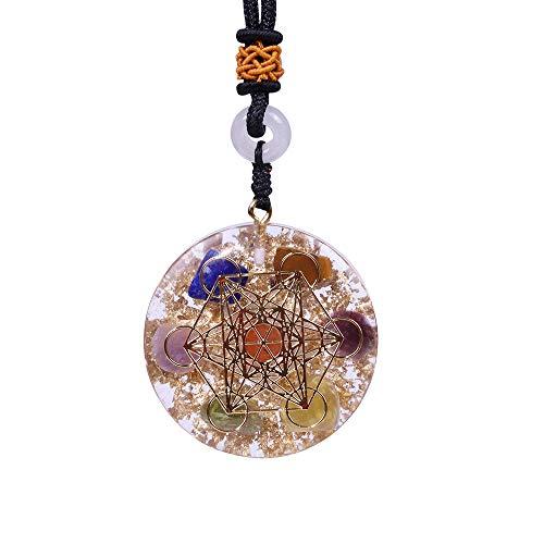 OneQuarter Orgone Pendant Rainbow Crystal Stones Chakra Reiki Healing Energy Generator EMF Radiation Protection Orgonite Necklace (Chakra)