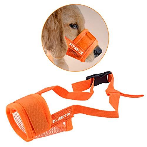 Zubita Hunde Maulkörbe, Einstellbar Atmungsaktiv HundeMaulkörbe aus Kunststoff Maulschlaufe für kleine, mittelgroße und große Hunde zum Verhindern von Bellen, Beißen und Kauen (S, Orange)