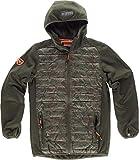 Work Team Chaqueta combinada con 2 bolsos laterales, con capucha. HOMBRE Verde Caza+Camuflage Marrón S