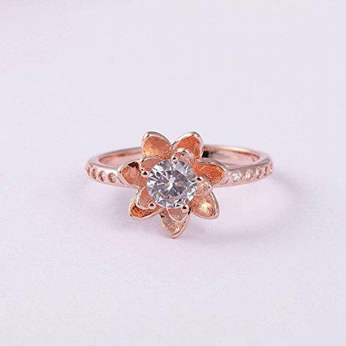 Thumby Anillo Étnico Anillo de Diamantes de Lotus Joyería Infantil Oro de Cobre Plateado Estilo Étnico Flor de Loto de Mujer, Oro Rosa, 6