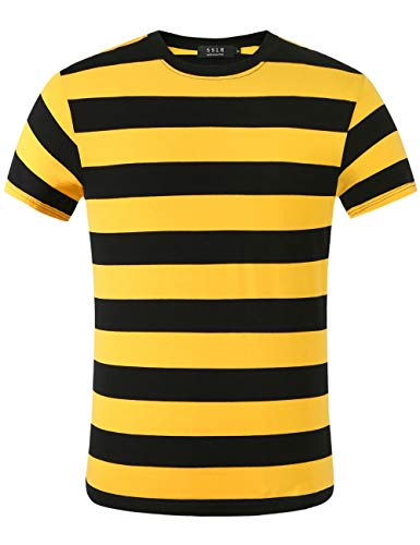 SSLR Men's Crewneck Short Sleeve Cotton Stripe Tee Shirt (Medium, Black Yellow)