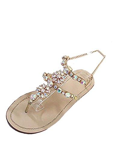 Offene Sandale T-Spange (Gold)