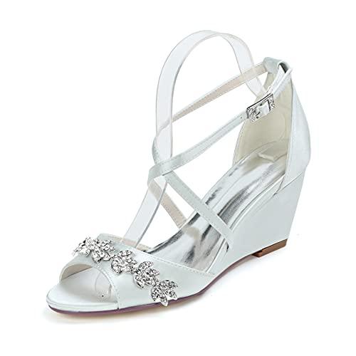 Zapatos De Boda para Mujeres Satén Zapatos De Cuña Punta Abierta Sandalias...