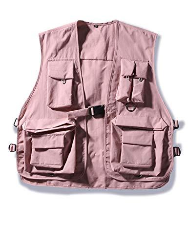 Hooever Womens Summer Outdoor Quick Dry Lightweight Safari Cargo Fishing Travel Vest(Pink-L)