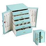 asvert cofanetto portagioielli scatole portagioie doppia porta con 5 cassetti scatola di gioielli per anelli braccialetti orecchini collane bigiotteria custodia portagioie viaggio regalo per donna