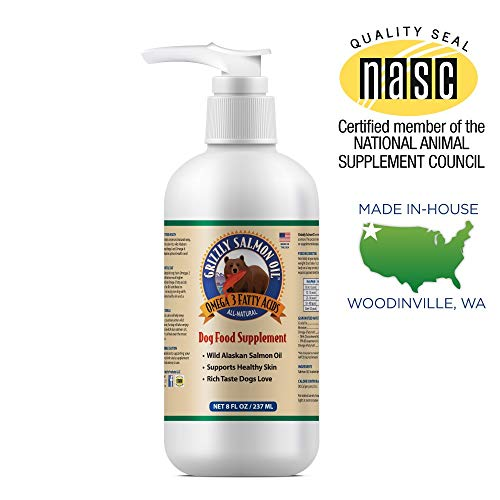 Grizzly Salmon Oil All-Natural Dog Food Supplement in Pump-Bottle Dispenser